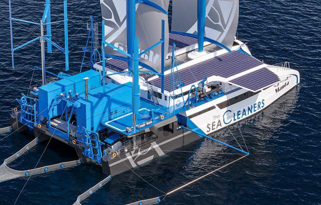 The Sea Cleaners espèrent mettre à l'eau la Manta en 2024. Le voilier géant visera à collecter les déchets plastiques en mer et en transformera une grande partie en électricité, directement à bord.