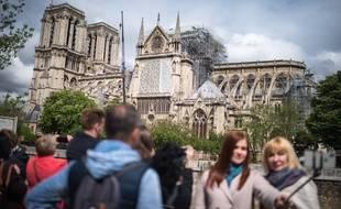 La cathédrale Notre-Dame de Paris, quinze jours après l'incendie, le 30 avril 2019.