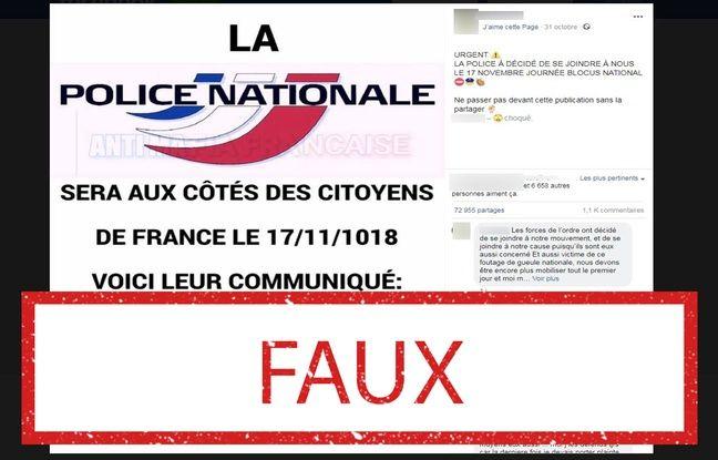 Non, la police nationale n'a pas appelé à «être aux côtés» des citoyens le 17 novembre.