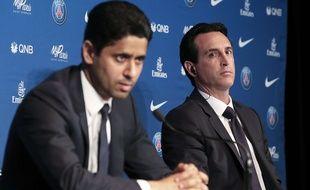 Nasser Al-Khelaïfi et Unai Emery, en conférence de presse au Parc des Princes.