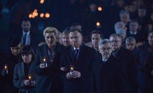 Andrzej Duda (au premier plan) lors de la cérémonie de commémoration des 75 ans de la libération d'Auschwitz, le 27 janvier 2020.