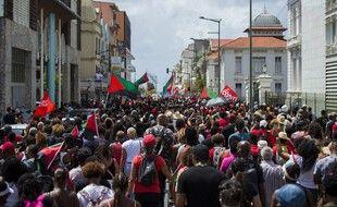 Manifestation contre la prescription du dossier du chlordécone, à Fort-de-France, le 27 février 2021.