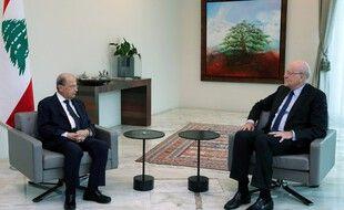 Le président libanais Michel Aoun et Najib Mikati, ex-Premier ministre