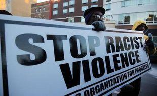 Marche à Newark, le 26 février 2014, pour le 2e anniversaire de la mort du jeune Noir Trayvon Martin tué par George Zimmerman, acquitté en 2013