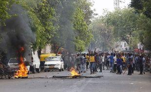 Plusieurs manifestations de la caste des Dalits ont eu lieu dans le nord de l'Inde, comme ici à Ahmedabad, le 2 avril.