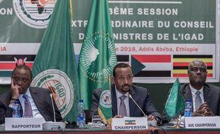 Le Premier ministre éthiopien Abiy Ahmed (au centre) le 21 juin 2018 à Addis Abeba.