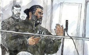 Un croquis réalisé le 19 janvier 2015 représentant Fahd Jobrani, lors d'une audience dans un tribunal de Paris.