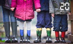 Illustration d'enfants avec des bottes
