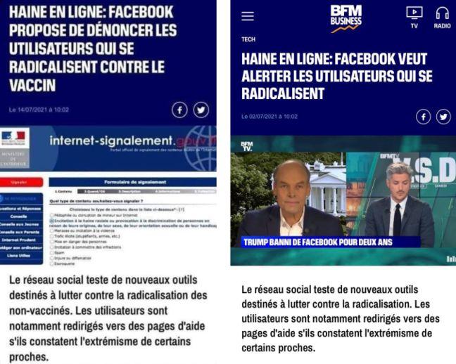 A gauche, la version trafiquée de cet article de BFM TV, à droite, la version originale. (Montage 20 Minutes)
