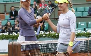 Maria Sharapova et Eugénie Bouchard, le 31 mai 2013 à Roland-Garros.