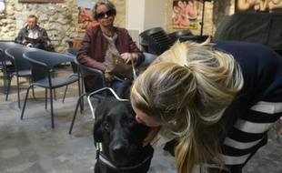 Valérie Cavagnac (au fond) et son chien guide Lady.