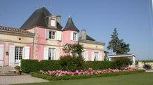 De couleur rose, le château Loudenne dans le Médoc cultive aussi les roses anciennes, d'où son surnom de «pink château»