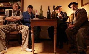 Le casting du court métrage, Le Dernier Vermouth, de gauche à droite: Gilles Graveleau, Serge Papagalli, Gilles Arbona et Daniel Gras.