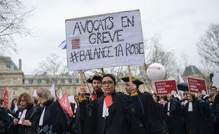 Manifestation des avocats en février 2020 contre la réforme des retraites.