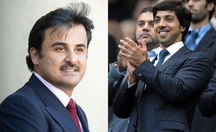 L'émir du Qatar Tamim ben Hamad al-Thani (à gauche) et le cheick Mansour bin Zayed al-Nahyan (à droite).