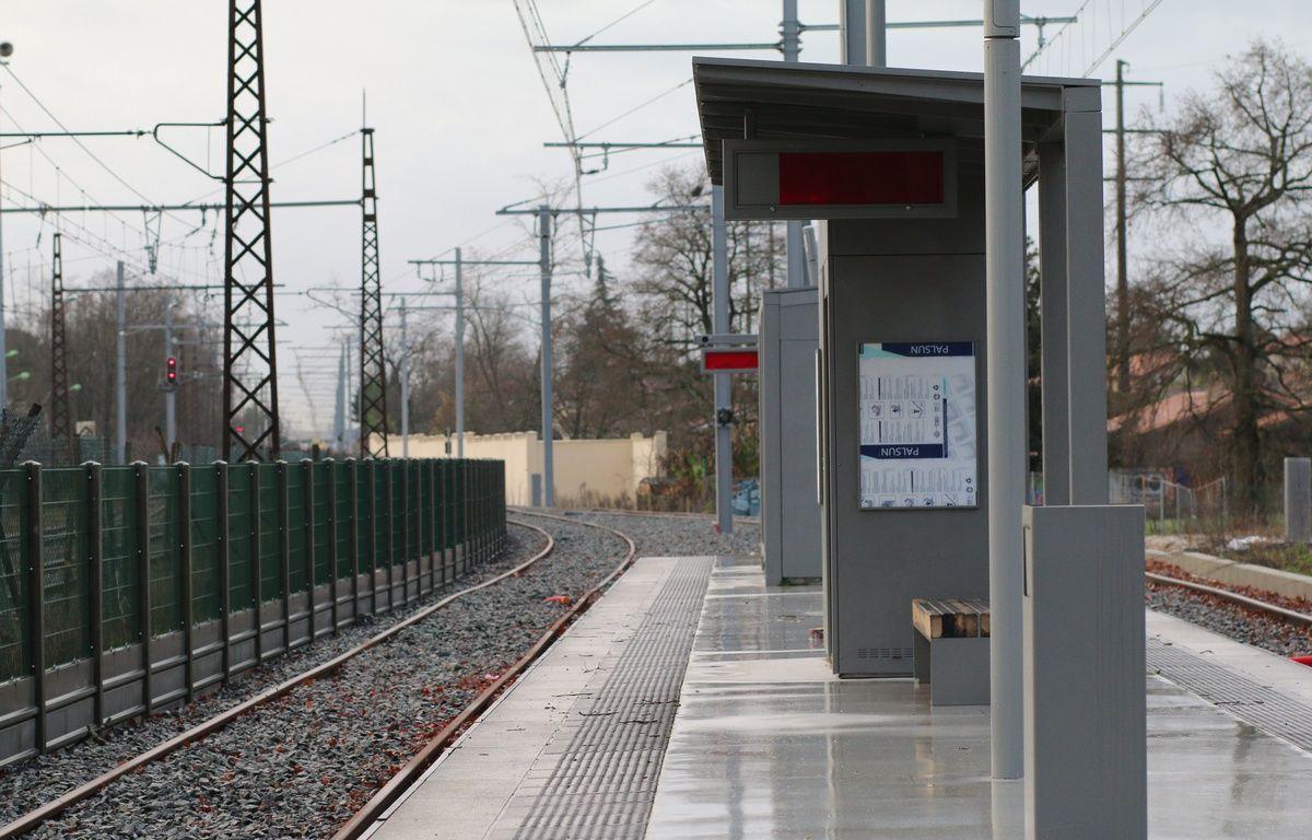 Le 10 février 2016, chantier de la nouvelle branche de la ligne C du tramway, ici au terminus Gare de Blanquefort –