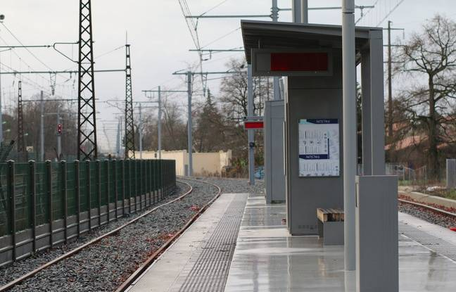 Le 10 février 2016, chantier de la nouvelle branche de la ligne C du tramway, ici au terminus Gare de Blanquefort