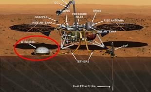 La sonde InSight et le sismographe SEIS, en bas à gauche
