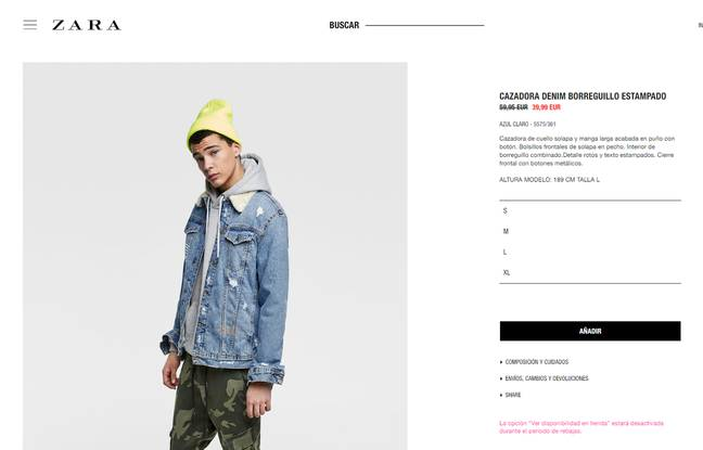 On the Spanish site, the same jacket is sold on sale at 39.99 euros.