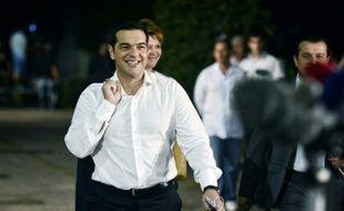 L'ancien Premier ministre grec Alexis Tsipras à son arrivée à un débat télévisé le 14 septembre 2015 à Athènes