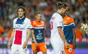 Edinson Cavani et Zlatan Ibrahimovic, le 9 août 2013 à Montpellier.