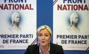 Marine Le Pen en conférence de presse au siège du Front national à Nanterre, le 27 mai 2014