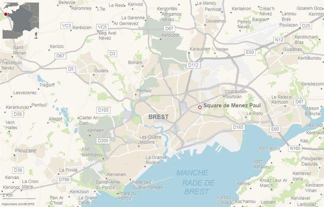 Localisation du square de Menez-Paul à Brest.