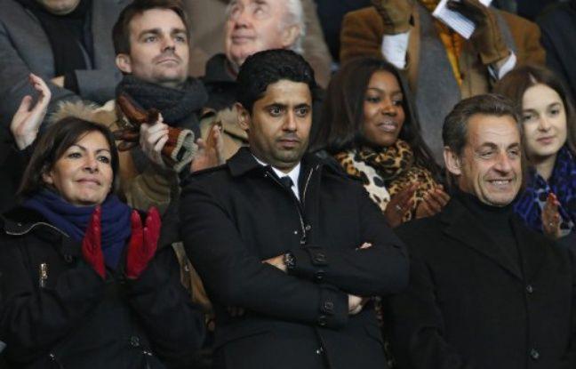 Nasser Al-Khelaïfi, le répsident du PSG, entouré par Anne Hidalgo, candidate (PS) à la mairie de Paris, et Nicolas Sarkozy, le 19 janvier 2014 au Parc des Princes.