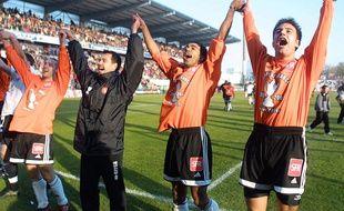 Patrice Loko après la qualification du FC Lorient pour les quarts de finale de la Coupe de France, en février 2003.