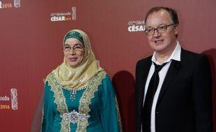 Le 26 février au Châtelet. Soria Zeroual et Philippe faucon, lors de la cérémonie des Césars. AFP PHOTO / KENZO TRIBOUILLARD