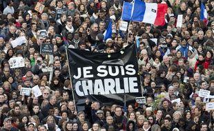 Vue de manifestants pour la marche républicaine à Paris le 11 janvier 2015