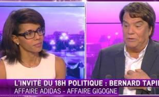 Ambiance tendue sur le plateau d'i-Télé entre Audrey Pulvar et Bernard Tapie, le 26 octobre 2014.