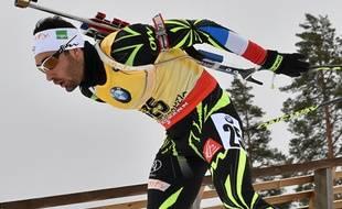 Martin Fourcade lors du sprint des Mondiaux de biathlon le 7 mars 2015.