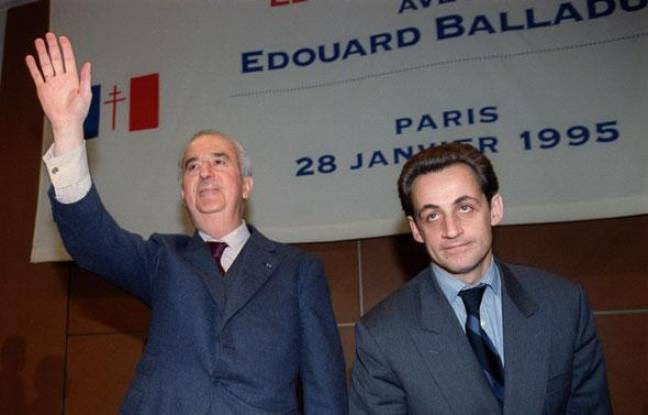 Edouard Balladur et Nicolas Sarkozy en janvier 1995