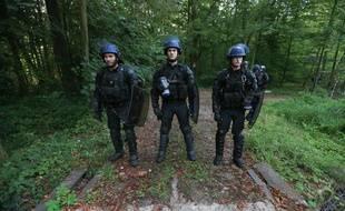 Des gendarmes lors de l'expulsion de la ZAD de Kolbsheim le 10 septembre. Illustration