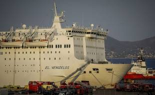 L'Eleftherios Venizelos, un ferry grec dans lequel s'est déclaré un incendie mardi 29 août dans la nuit.