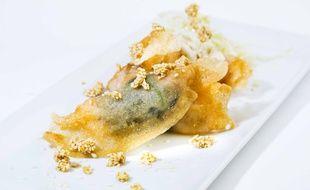 Croustillant de grosses crevettes, chou blanc au sésame