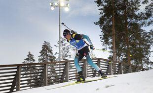Quentin Fillon Maillet lors du sprint de Kontiolahti en mars 2020.