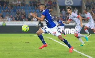Ici contre Troyes, Khalid Boutaïb a réalisé une première partie de saison très solide avec le Racing club de Strasbourg. Il va maintenant découvrir la CAN avec le Maroc.