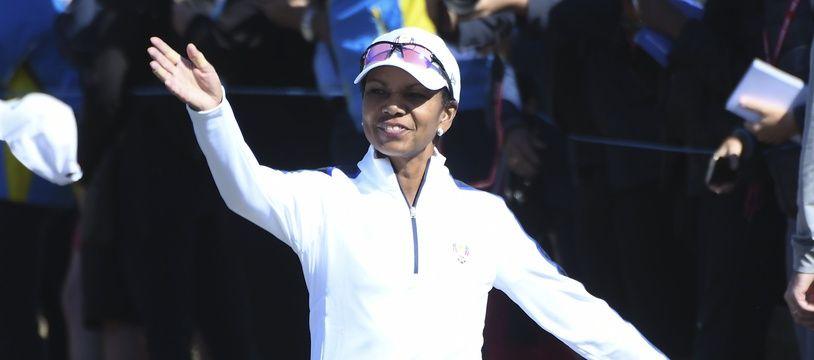 L'ancienne secrétaire d'Etat américain Condoleezza Rice, lors de la Ryder Cup à Saint-Quentin-en-Yvelines, le 25 septembre 2018.