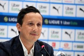 Pablo Longoria lors de sa conférence de presse le 28 avril 2021.