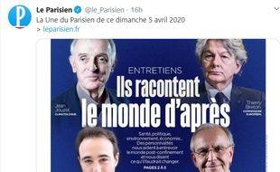 """La une polémique du """"Parisien"""" du dimanche 5 avril 2020."""