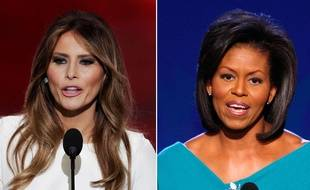 Photomontage de Melania Trump (18 juillet 2016) et de Michelle Obama (2008).