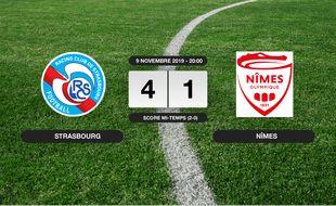 Ligue 1, 13ème journée: Le RC Strasbourg vainqueur de Nîmes 4 à 1 au stade de la Meinau