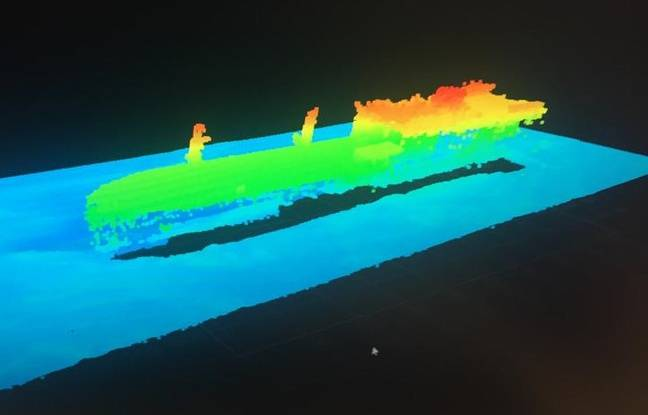 Wreck of Great America modeled in 3D image by the ROV submarine robot.