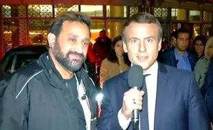 Oui ce sont bien Cyril Hanouna et Emmanuel Macron en direct à la télévision