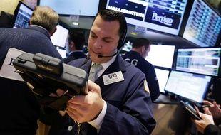 Illustration d'un trader à la bourse de New-York.
