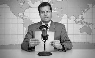 Illustration présentateur de télévision dans les années 50.