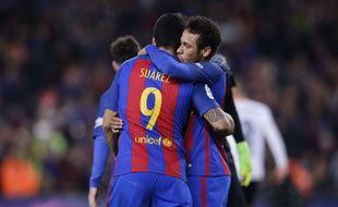Neymar après sa passe décisive pour Suarez