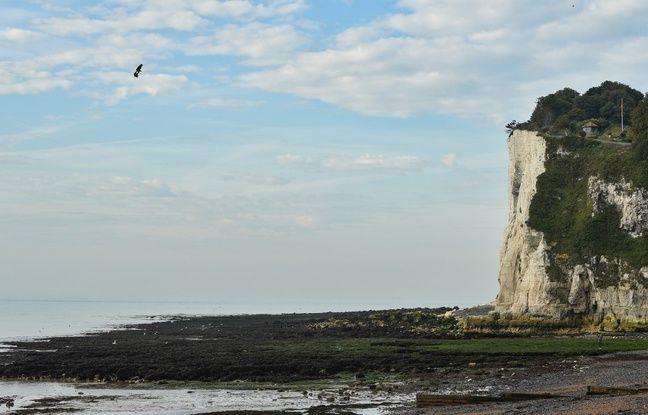 Exceptionnelle photo de l'arrivée de Franky Zapata sur la côte britannique.